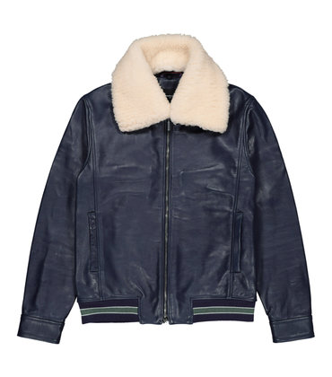 LEATHER JACKET BELISAIRE  - Navy
