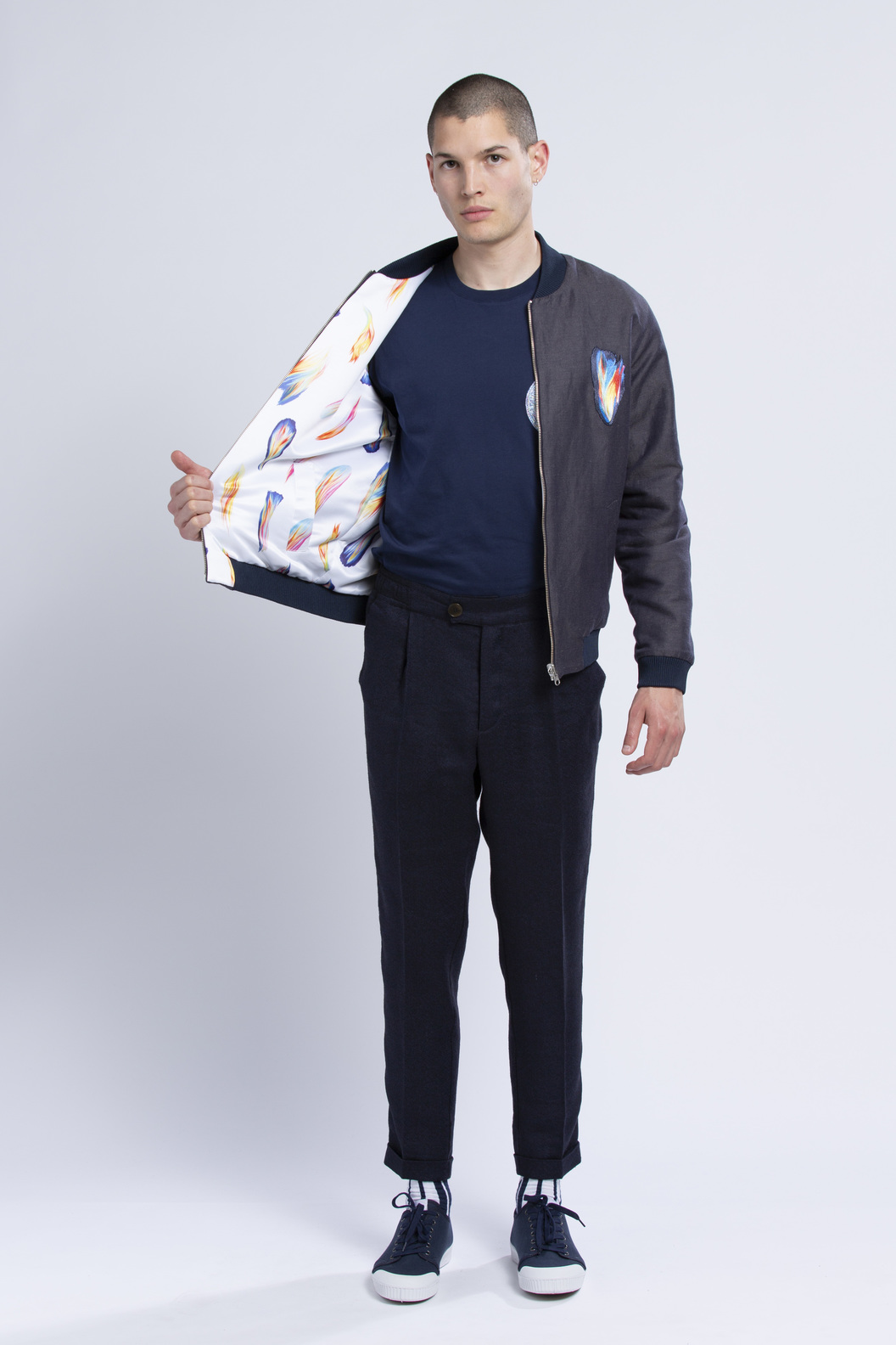 BOMBER JACKET ZALKO  - Navy/allover