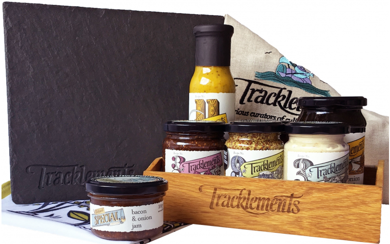 Tracklements filled condiment caddy and luxury slate cheeseboard