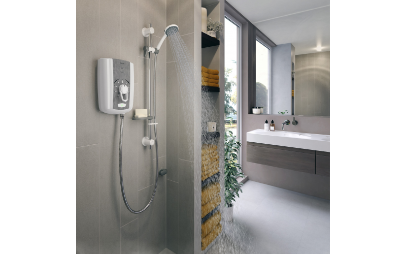 Triton Showers Omnicare Style thermostatic shower with grab riser rail kit (8.5kW)