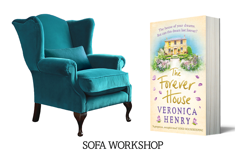 Sofa Workshop Storyteller chair upholstered in Dusky Pacific and a bundle of Veronica Henry novels
