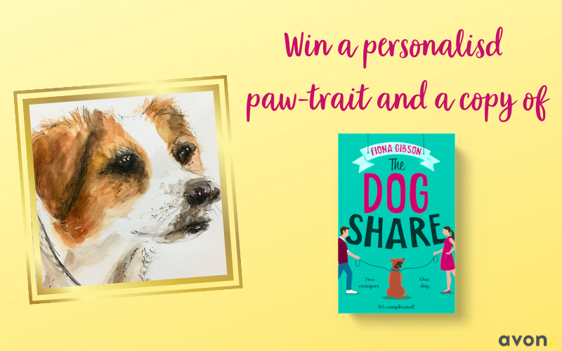 A paperback copy of The Dog Share by Fiona Gibson, a personal paw-trait of your dog, bookmark and dog treat recipe card!