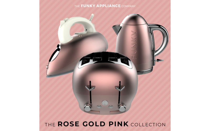 Win a Rose Gold Pink Funky Iron, Kettle and Toaster Set from The Funky Appliance Company!