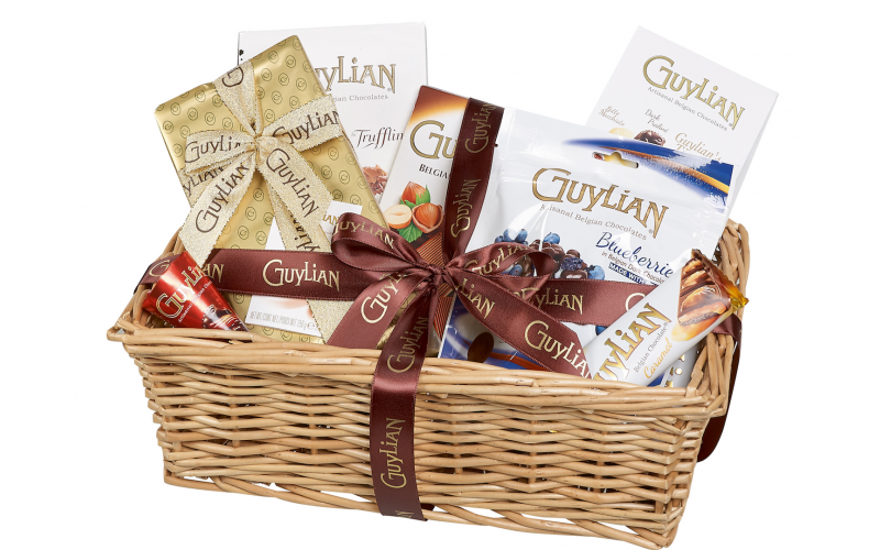 A luxury Guylian Belgian Chocolate hamper