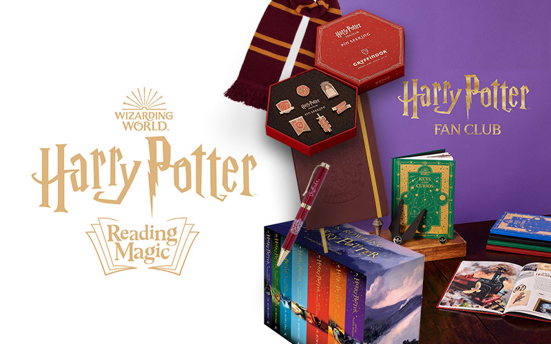 A one-year membership to Harry Potter Fan Club Gold, the Harry Potter Children's Hardback Collection, as well as an enamel pin set, an embossed notebook, knitte