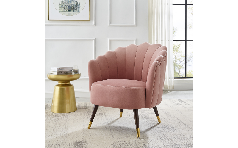 Scalloped Chair in Blush Pink Velvet