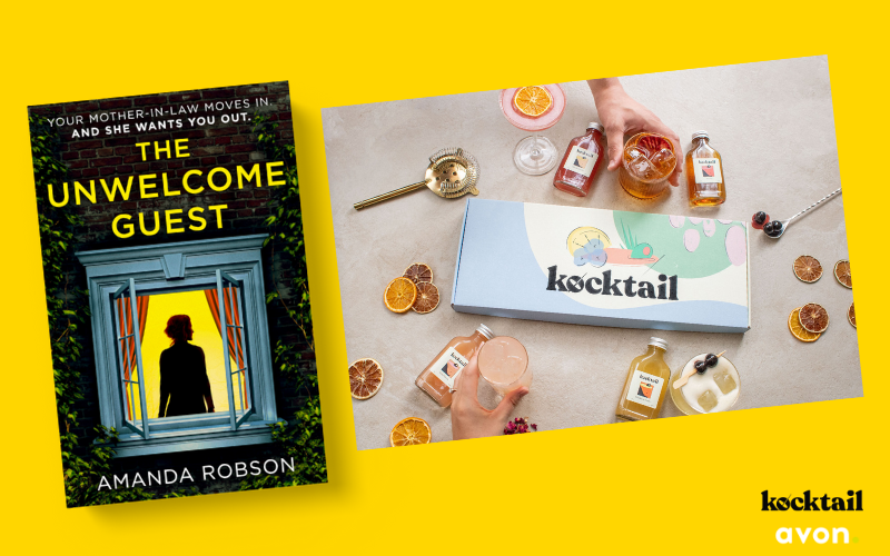 Kocktail Discovery box and a paperback copy of The Unwelcome Guest by Amanda Robson