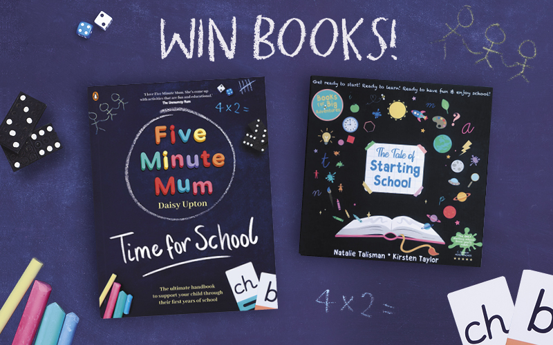 A signed copy of Five Minute Mum: Time for School and a copy of The Tale of Starting School