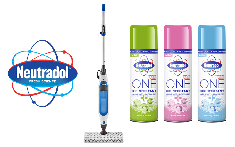 A Shark Steam Mop and Neutradol One Disinfectant Spray Products