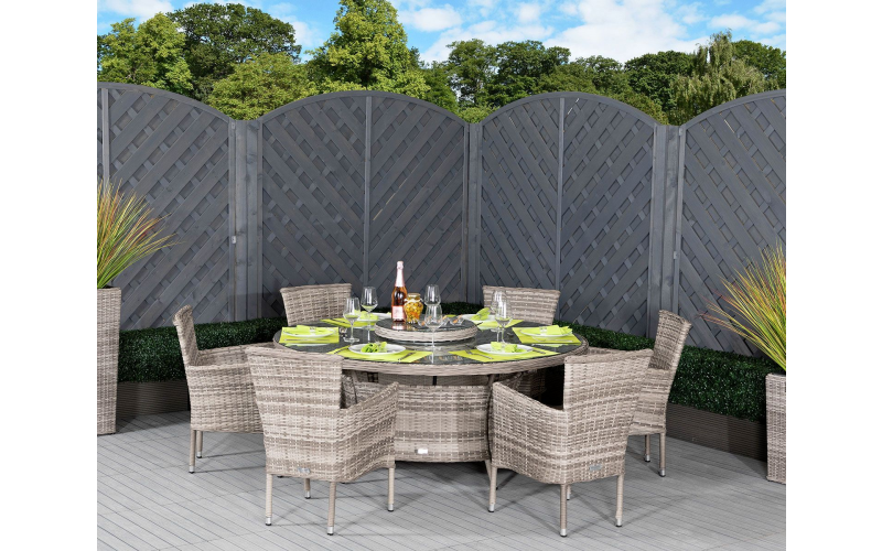 Gorgeous Garden Dining Set - 6 Rattan Chairs and Large Round Dining Table Set in Grey