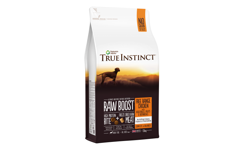 Three 1.5kg bags of True Instinct Raw Boost