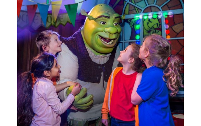 A family ticket to Shrek's Adventure! London including a meal at Planet Hollywood