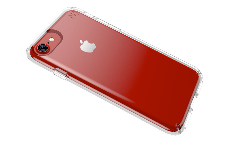 Red iPhone 7 and Speck clear case