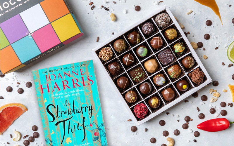 A year's supply of chocolate from Chococo and a copy of The Strawberry Thief by Joanne Harris in paperback
