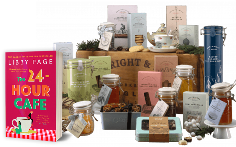 The Rosedale luxury hamper from Cartwright and Butler and a copy of THE 24-HOUR CAFE