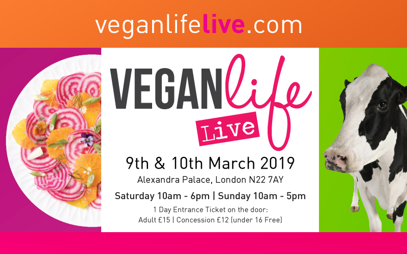 Win a weekend ticket for 2 people to Vegan Life Live