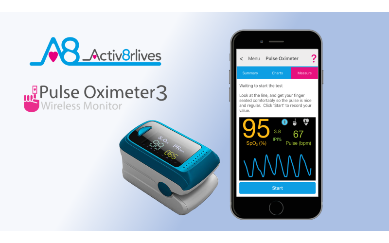 WIN Activ8rlives Pulse Oximeter3 to measure blood oxygen at home