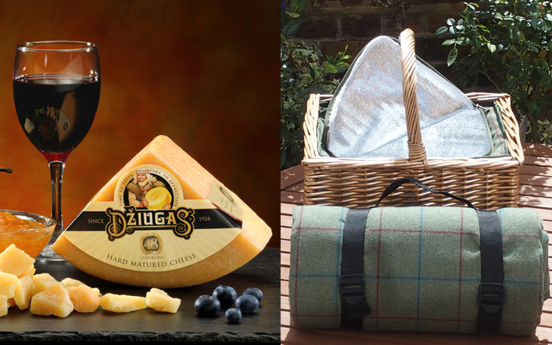 picnic basket with inset cool bag and matching rug, plus a selection of cheese