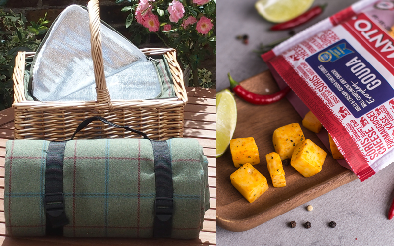 Picnic basket with a built-in cool bag, a matching rug and a selection of cheese