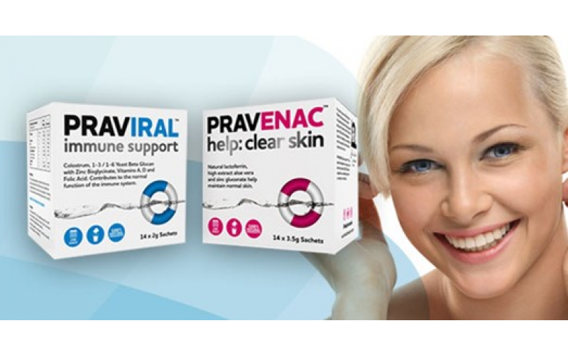 Win a month's supply of either PRAVIRAL immune support or PRAVENAC help: clear skin.