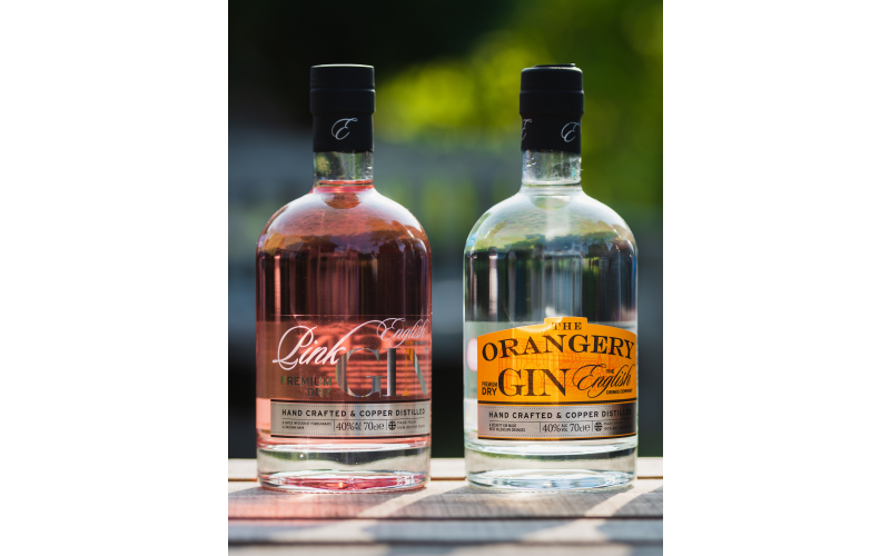 Two bottles of The English Drinks Company's traditionally crafted gins
