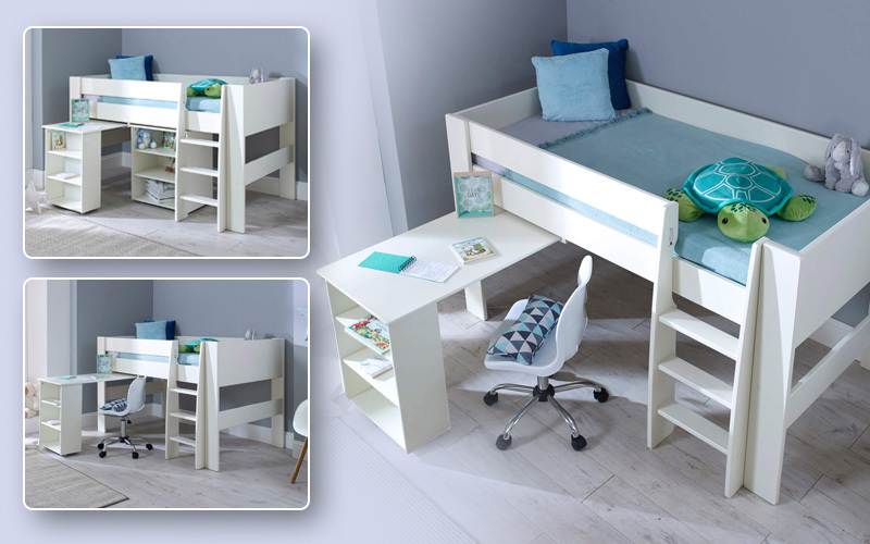 Steens midsleeper bed with a pull out desk, bookcase and a mattress