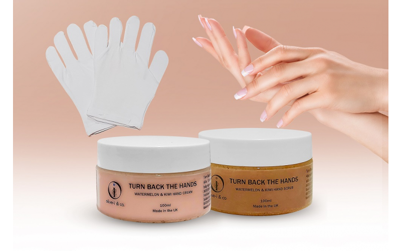 Turn Back The Hands Watermelon & Kiwi Hand Scrub and Cream for Dry Hands with Moisturising Gloves