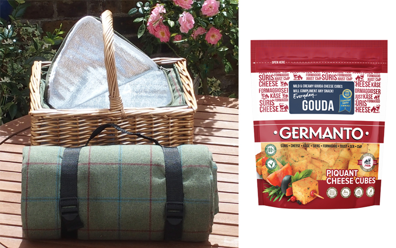 picnic blanket and basket with inbuilt cool bag, plus a selection of cheese