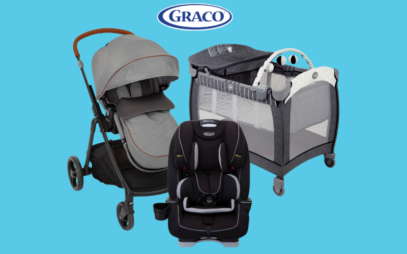 Graco baby essentials including the Contour Electra Travel Cot, Near2Me Pushchair and SlimFit Car Seat
