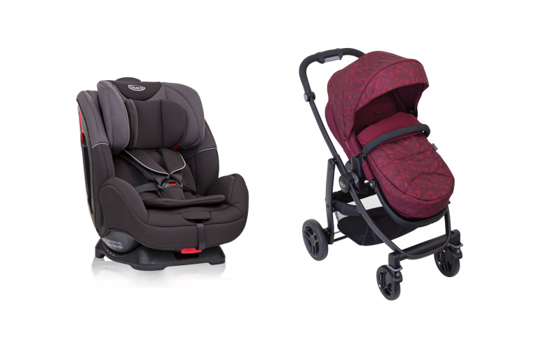 A Graco Evo Stroller in Red Leopard worth £170, and a Graco Enhance Car Seat worth £100