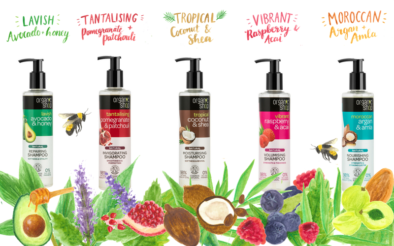 The complete set of Organic Shop hair products
