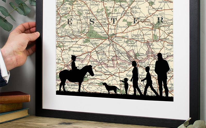 Personalised Family Portrait Commission with Vintage Map