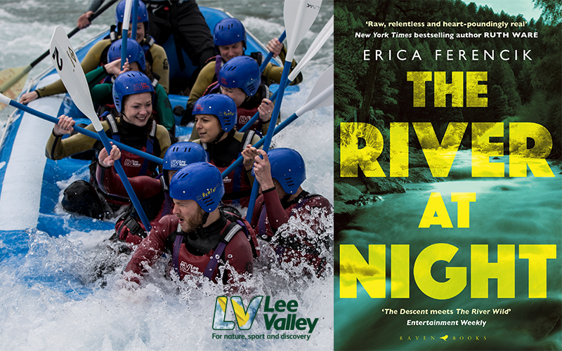 Two white water rafting vouchers at Lee Valley White Water Centre, two copies of THE RIVER AT NIGHT paperback, and 2 mini key ring torches