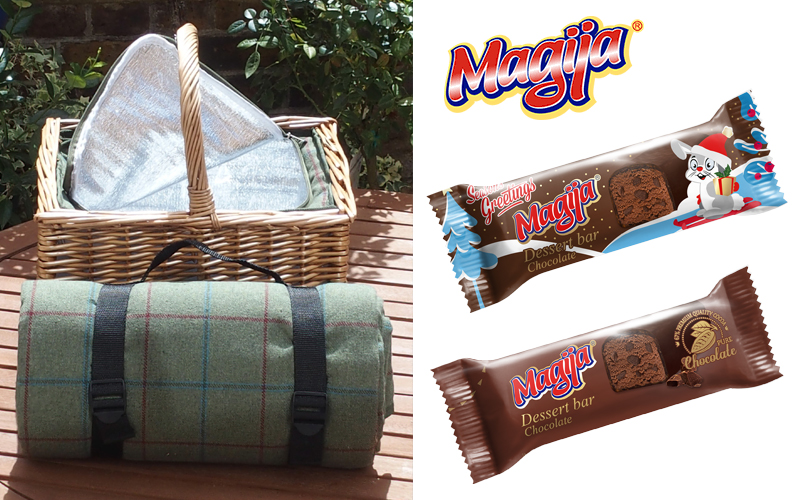 Picnic basket with inset cool bag, matching rug and a selection of Magija