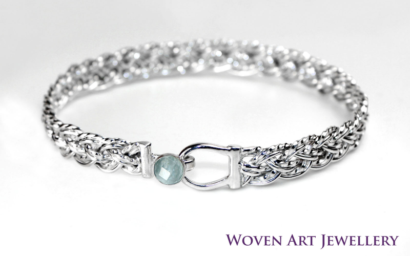 Sterling Silver Hand Woven Bracelet with Aquamarine