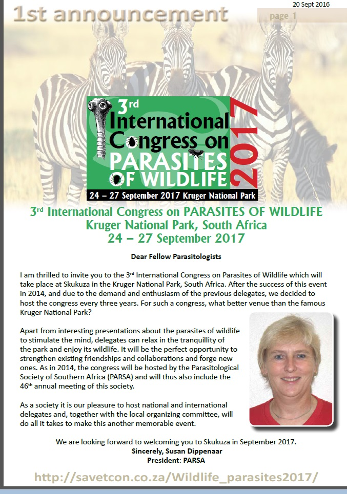 3de Internationale congres over parasieten in wild