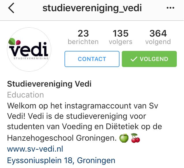 Volg studievereniging Vedi op Instagram