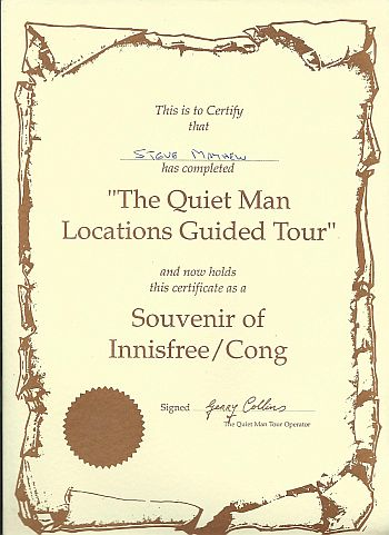 The Quiet Man tour certificate