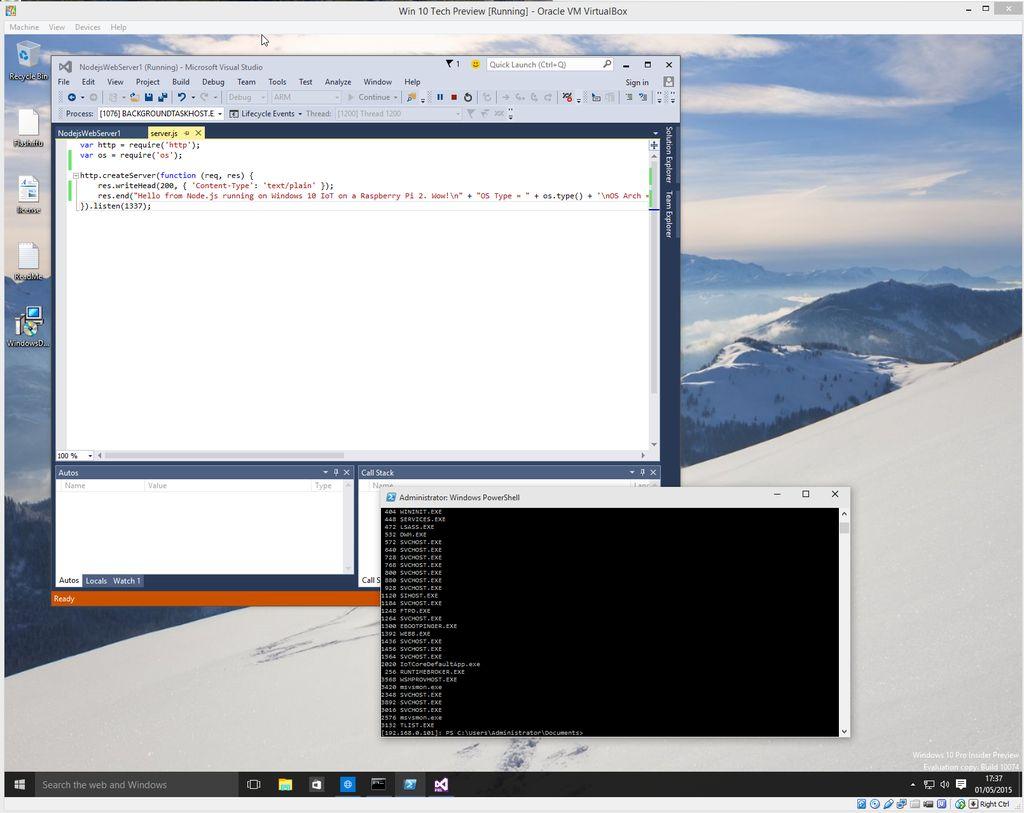 A Node js web-server running on Windows 10 IoT on a