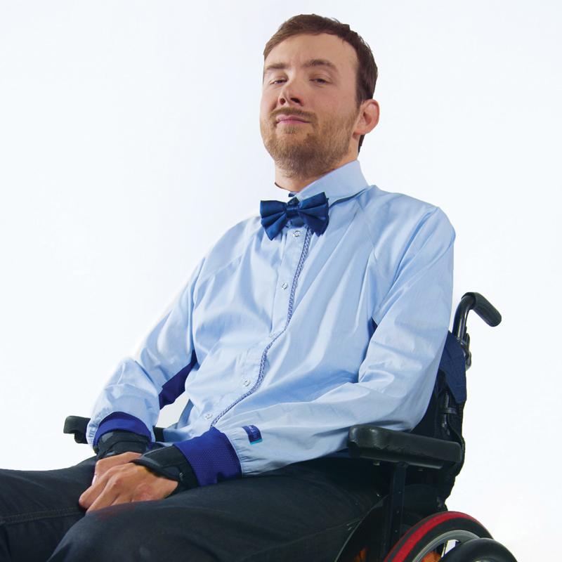 Chemise mahe bleu ciel marine pratique handicap