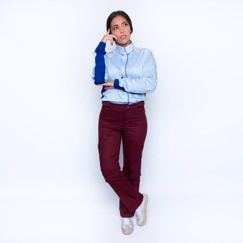 Chemise mahe bleu ciel marine look pratique handicap