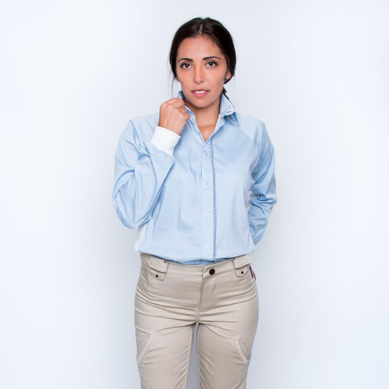 Chemise mahe bleu ciel blanc look pratique handicap