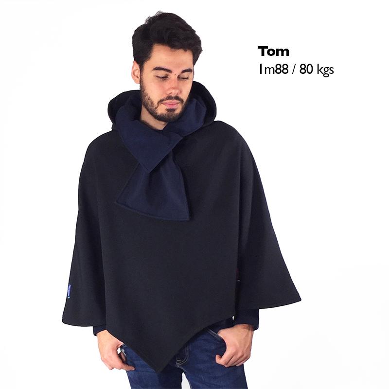 Poncho pascal noir marine cape mode handicap