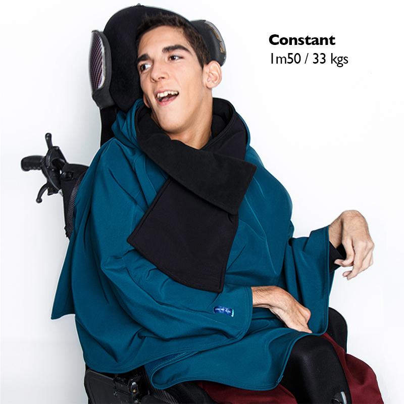 Poncho pascal bleu canard cape pratique mode handicap
