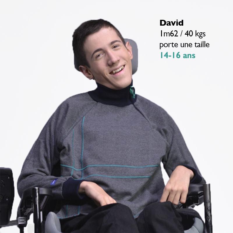 Sweat pratique facile enfilage mode handicap fauteuil roulant de%cc%81pendance