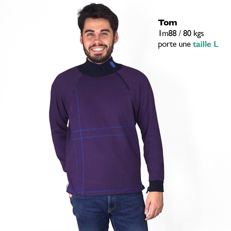 Sweat sam vetement pratique adapte%cc%81 handicap
