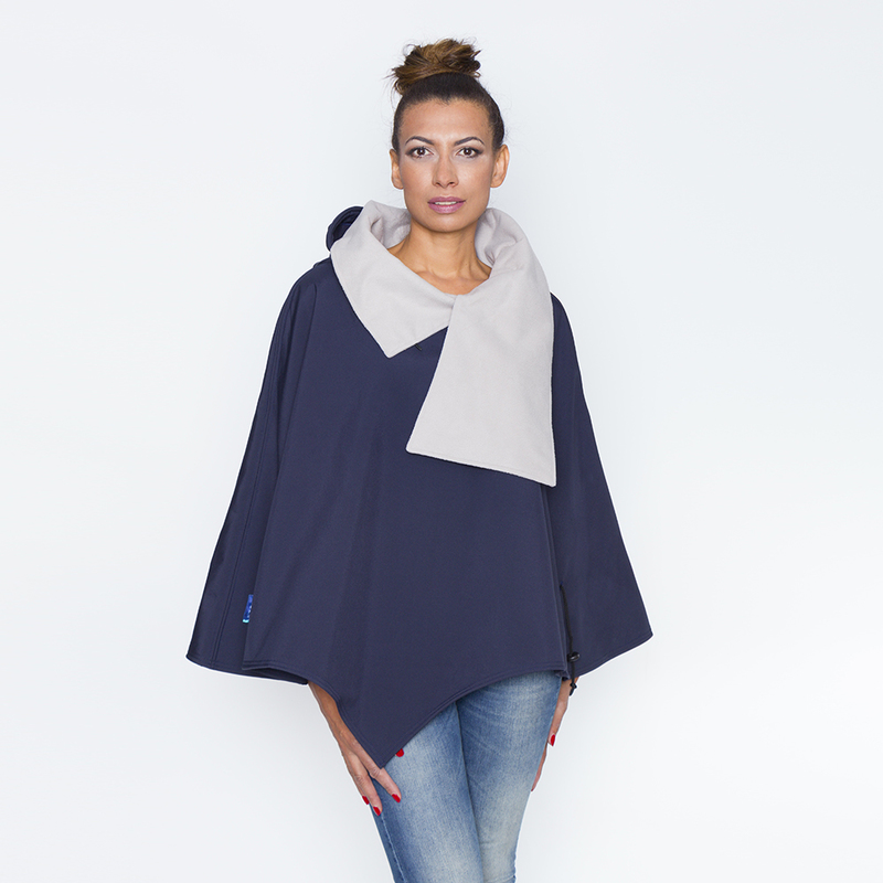 Poncho pascal marine beige col ouvert