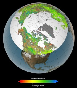 map depicting change in northern vegetation growth over time