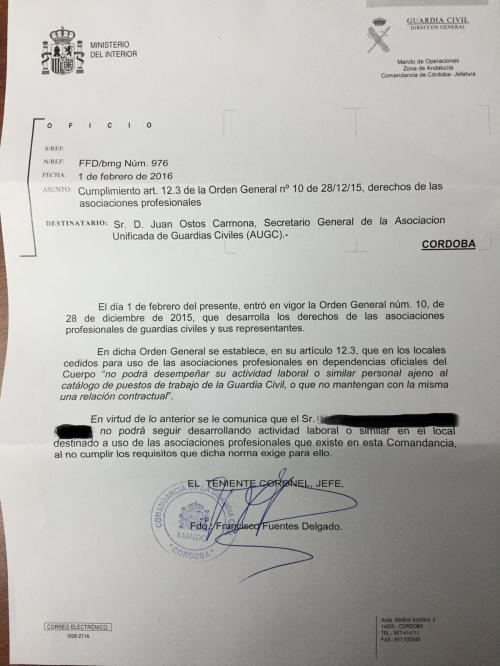 Carta a AUGC Córdoba