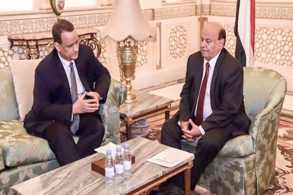 هادي والمبعوث الأممي يبحثان استئناف عملية السلام